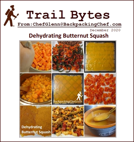 Trail Bytes December 2020: Dehydrating Butternut Squash. Dehydrating Food from A - Z