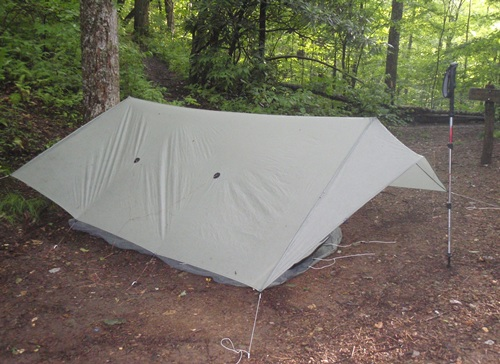 Appalachian Trail, campsite at Locust Cove Gap. Ray-way Tarp set up.