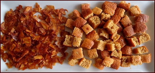 Dried apples and apricots combined with dehydrated pancakes.
