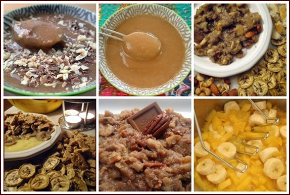 Several kinds of puddings made with bananas.