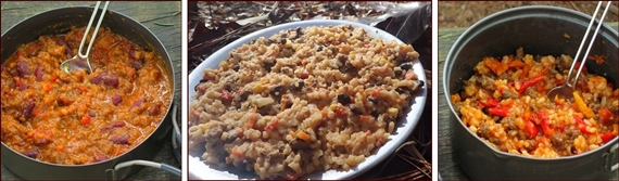 Readers' Choice Backpacking Recipes: Chili, Mexican Beef & Rice, and Unstuffed Peppers.