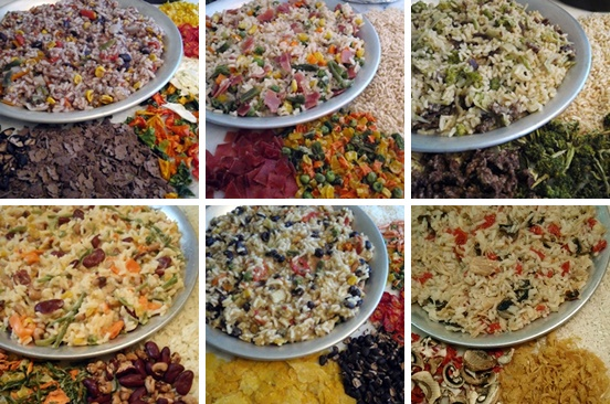 Backpacking rice recipes with vegetables, meats, beans, and sauce.