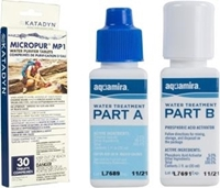 Backpacking Water Purification: Aquamira Water Treatment Drops and Katadyn Micropur Tablets.
