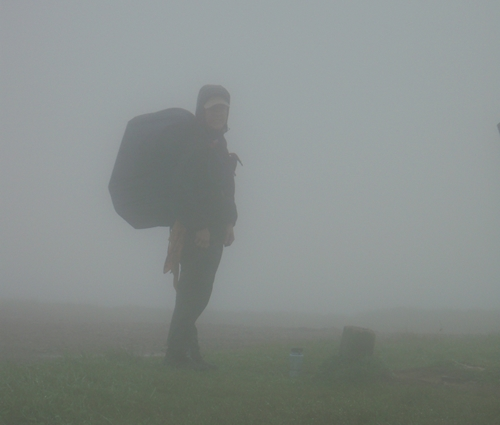 Kendra in the fog on Bald Mountain, Appalachian Trail