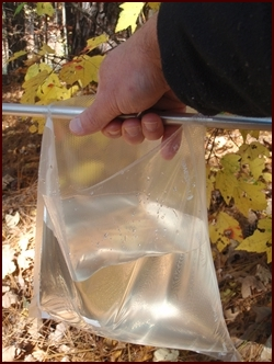 A Vacuum Seal Bag getting a second use as a water collection bag while backpacking.