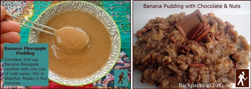 Dehydrated bananas and banana fruit leather are used to make Banana-Pineapple Pudding and Banana Pudding with Chocolate & Nuts.