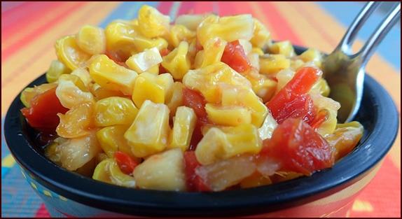 Peach Salsa Corn Salad. A cold-soak salad made with dehydrated corn.