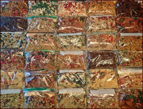 Dehydrated food assembled into meals for backpacking and emergency storage.