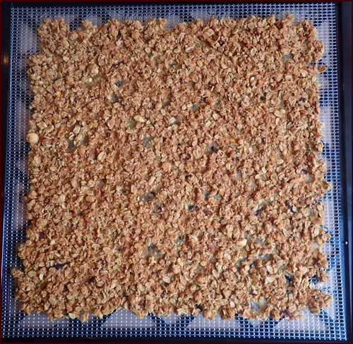 Dried Peach Granola. Breaks easily into clusters. Tastes like fruity oatmeal cookies.