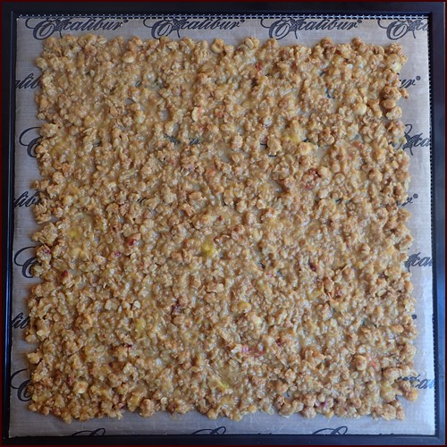 Peach granola mixture on dehydrator tray.