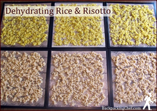 Dehydrating rice on Excalibur dehydrator trays covered with non-stick sheets.