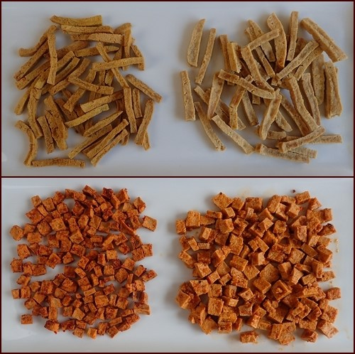 Dehydrated Tofu Noodles & Squares. Shown before drying on left, after drying on right.