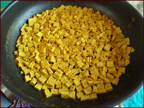 Tofu, after it absorbed all the liquid and curry seasonings.
