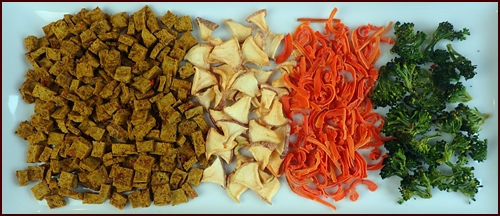 Dried Curry Tofu, Apples, Carrots, and Broccoli.