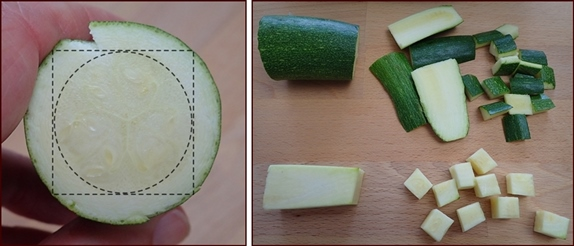 Cutting zucchini into cubes and skins.