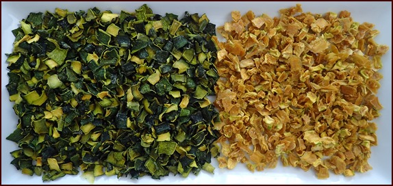 Dehydrating zucchini cubes and skins (after)