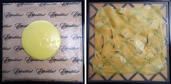 Blended zucchini and potatoes on dehydrator trays, before and after.