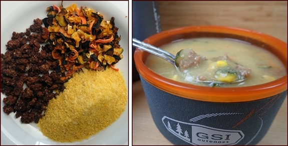 Zucchini-Potato Soup: Dried ingredients on left, rehydrated on right.