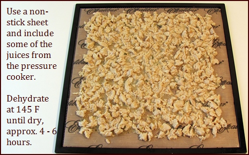 Pressure cooked chicken shown on Excalibur dehydrator tray covered with Paraflexx sheet.