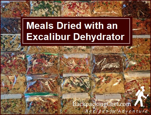 Meals dried with and Excalibur Food Dehydrator.