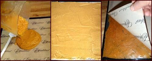 Dehydrating Sweet Potato Bark on Excalibur Food Dehydrator Non-stick Sheets.