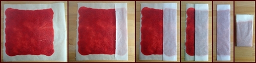 To avoid fruit leather from sticking to itself, fold it up in baking paper.