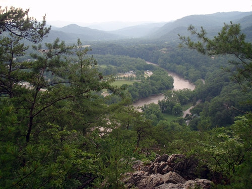 Looking down from the Appalachian Trail at French Broad River in Hot Springs, NC