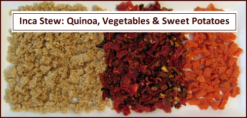 Inca Stew Recipe made with quinoa, vegetables, and dehydrated sweet potatoes.
