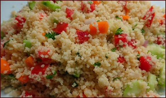 No-cook backpacking recipes with couscous and vegetables. Couscous does not need to be precooked. It rehydrates well in cold water.