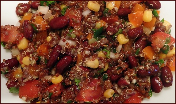 Quinoa & Bean Cilantro Salad. Quinoa is easy to precook and dehydrate and it rehydrates well with cold water for a stoveless backpacking meal.