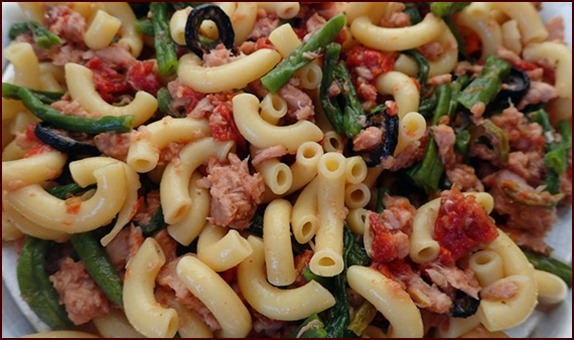 Tuna & Pasta San Marzano. No-cook backpacking meal rehydrated with cold water.