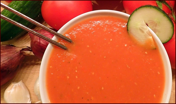 Gazpacho, a cold and spicy tomato soup, makes a nice side to other backpacking lunch items.
