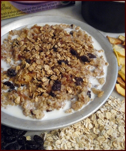 Backpacking Breakfast: Oatmeal with Apples, Raisins & Cinnamon