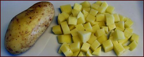 Pressure cook a potato to help add starch to pressure cooked chicken.