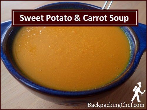 Dehydrated Sweet Potato & Carrot Soup, rehydrated.