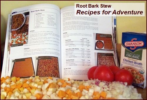 Making Root Bark Stew for 6-day Backpacking Food Plan.