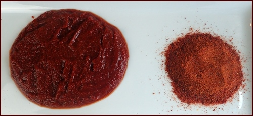 Reconstituted tomato sauce (left) made from tomato powder (right)