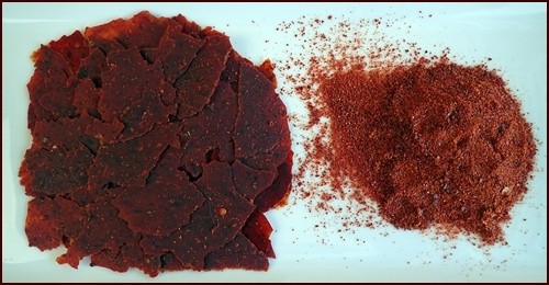 Tomato sauce leather on left, tomato powder on right.