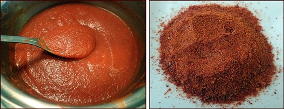 How to make tomato powder from tomato sauce leather.