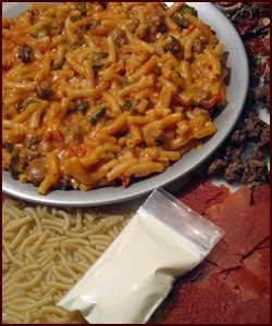 Cheesy Beef & Pasta made with Tomato Sauce Leather