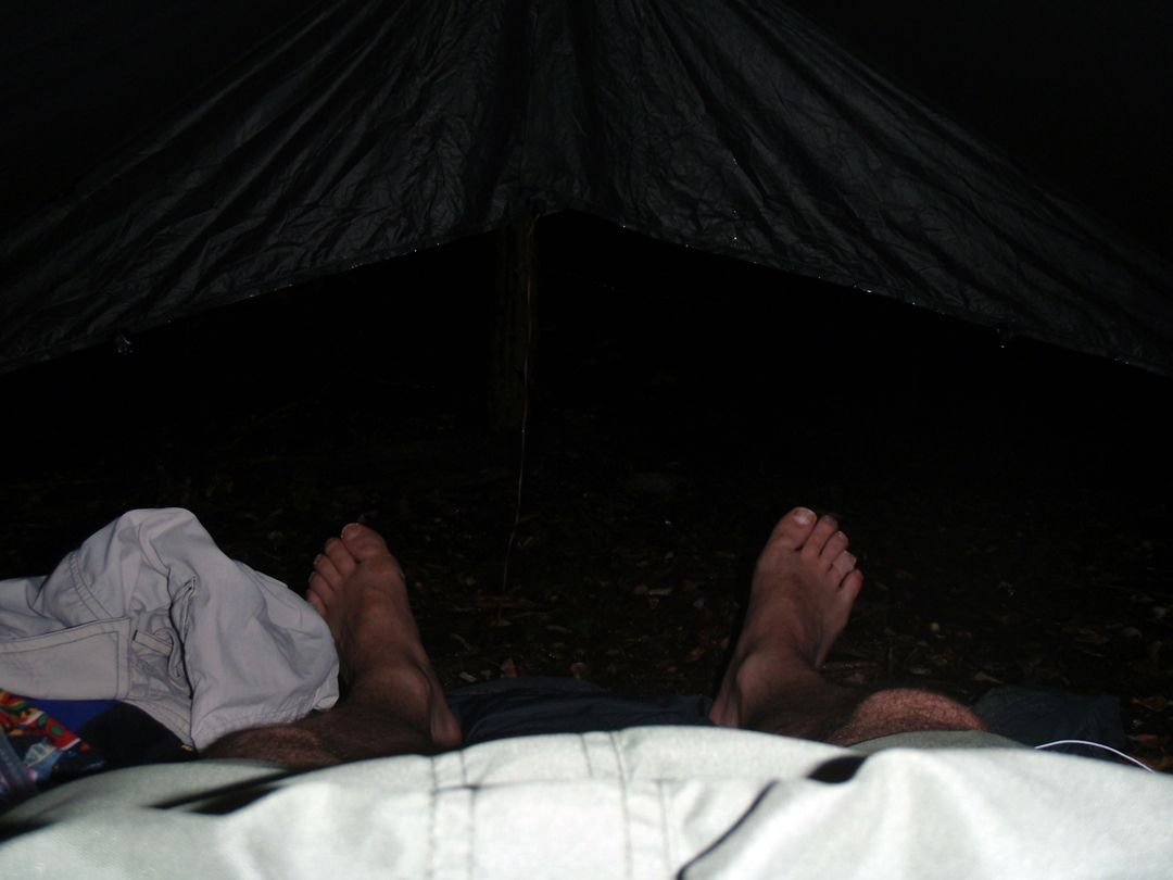 Stormy night under my tarp on the Appalachian Trail, near Erwin, TN
