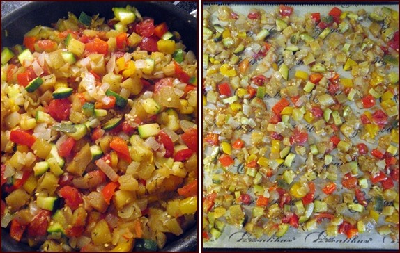 Cooking and dehydrating ratatouille