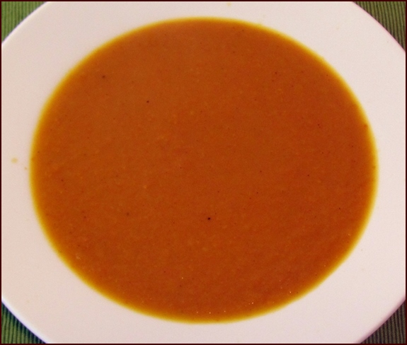 Rehydrated curry-carrot soup.