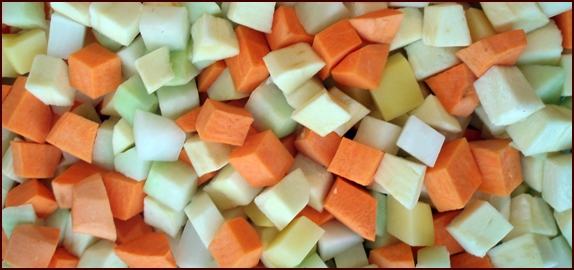 Diced sweet potatoes, parsnips, turnips, and rutabaga.