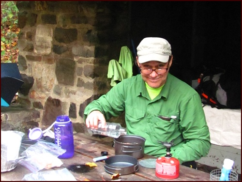 Chef Glenn preparing a backpacking meal in Shenandoah National Park.