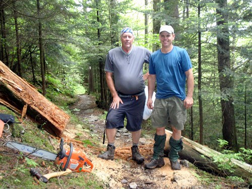 Volunteer trail maintainers from the Smoky Mountains Hiking Club working on the Appalachian Trail