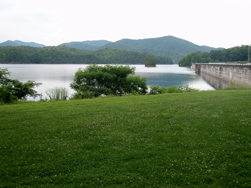 Great Smoky Mountains National Park ends at Fontana Lake. The Appalachian Trail crosses over the 480-foot-high concrete dam.