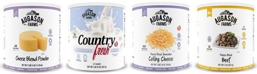Auguson Farms Freeze-dried cheese, milk, and beef.