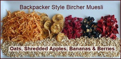Ingredients used to make Backpacker Bircher Muesli.
