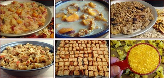Backpacking Breakfasts: Pizza Grits, Peach Crunch Cereal, Apple Cinnamon Oatmeal, Omelet Bites, Pancake Bites, Country-Style Grits, and more.